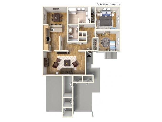 2 Bedroom Floor Plan | Schofield Barracks Hawaii | Island Palm Communities