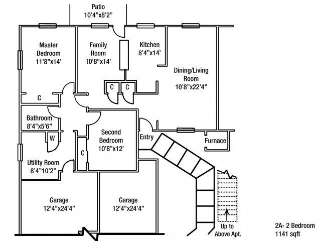 Two bedroom JNCO Floor plan | fort drum housing