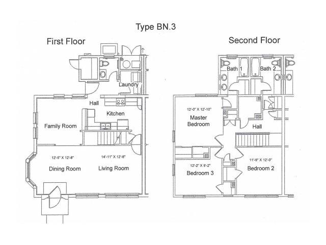 3 Bedroom Duplex Floor Plan | pearl harbor hickam housing | Hickam Communities
