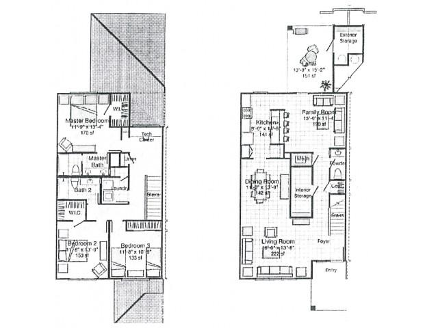 3 Bedroom 2 Bath Floor Plan | pearl harbor hickam housing | Hickam Communities