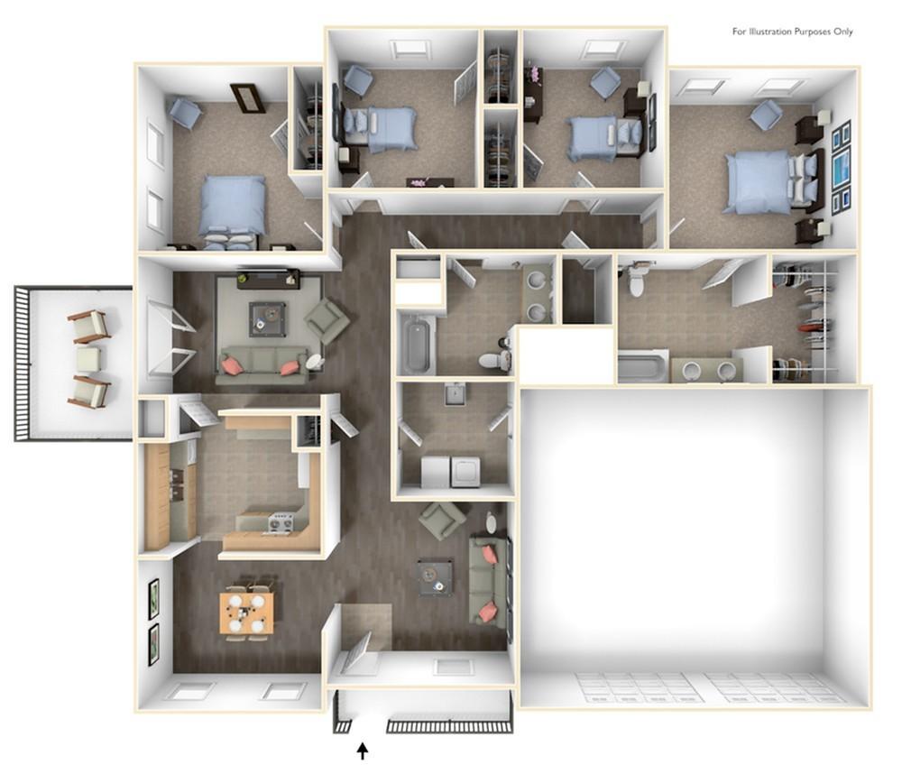 Stewart Terrace Talbot ADA 3D Floor Plan