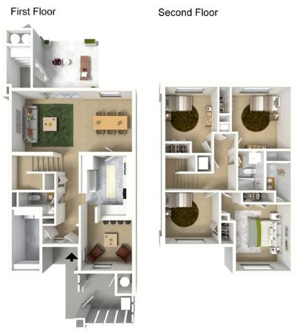 4 Bedroom Floor Plan | hickam housing floor plans | Hickam Communities