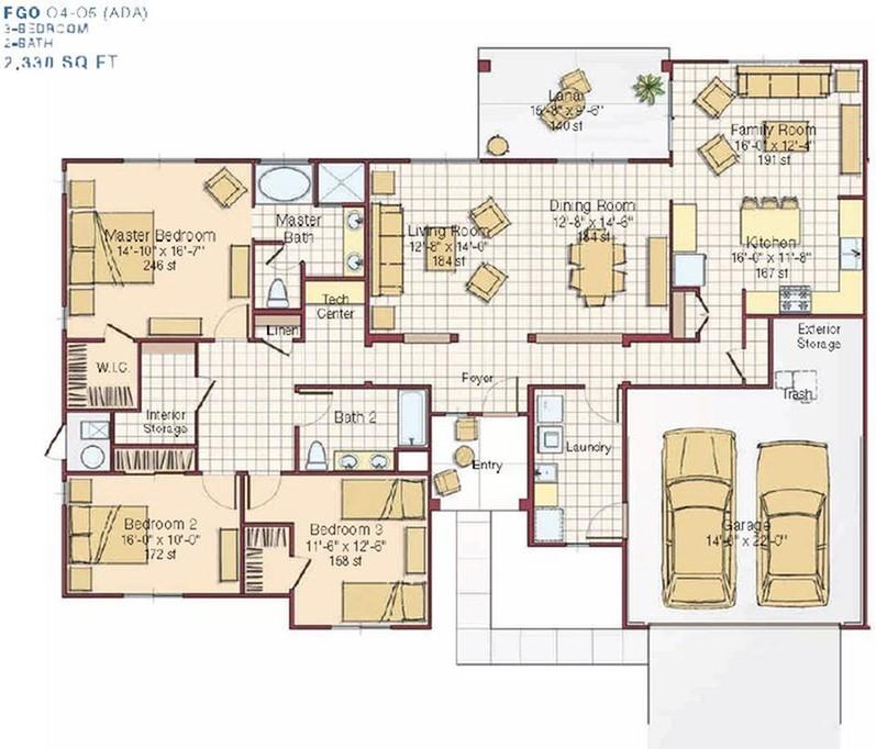 3 Bedroom Multiplex Floor Plan | pearl harbor hickam housing | Hickam Communities