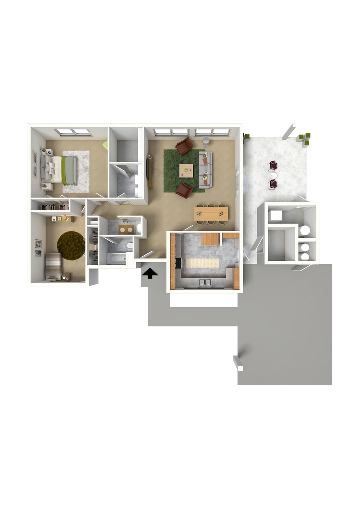 2 Bedroom Duplex Floor Plan | Hickam Air Force Base Housing | Hickam Communities