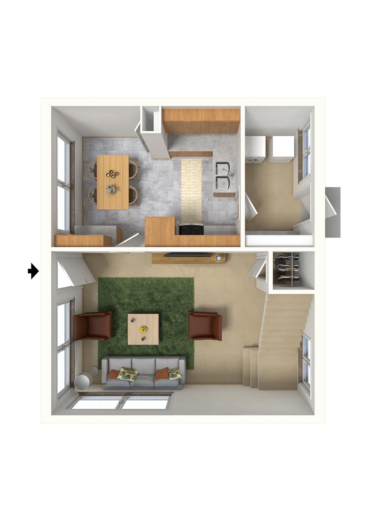 2 Bedroom Apartment Floor Plan | Hickam Air Force Base Housing | Hickam Communities