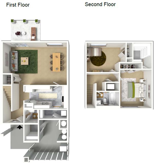 2 Bedroom Townhome Floor Plan | Hickam Air Force Base Housing | Hickam Communities
