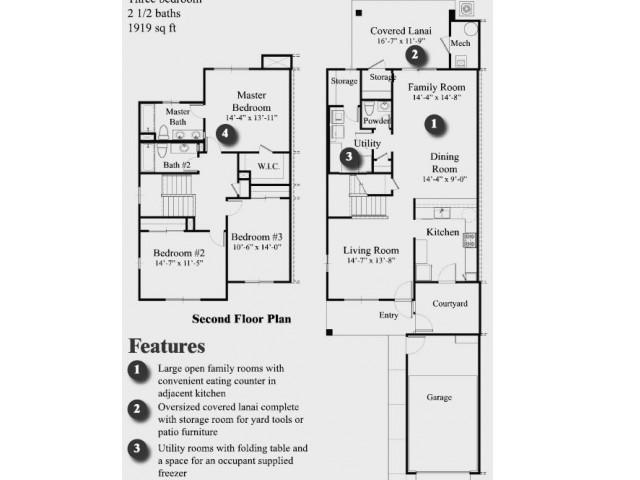 3 Bdrm Townhome Floor Plan | Hickam Communities | Hickam Communities