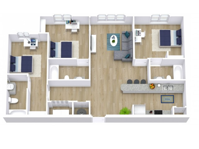 A three bedroom, 3 bathroom apartment.