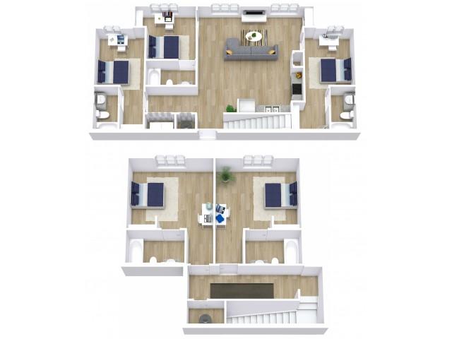 A five bedroom, five bathroom apartment.