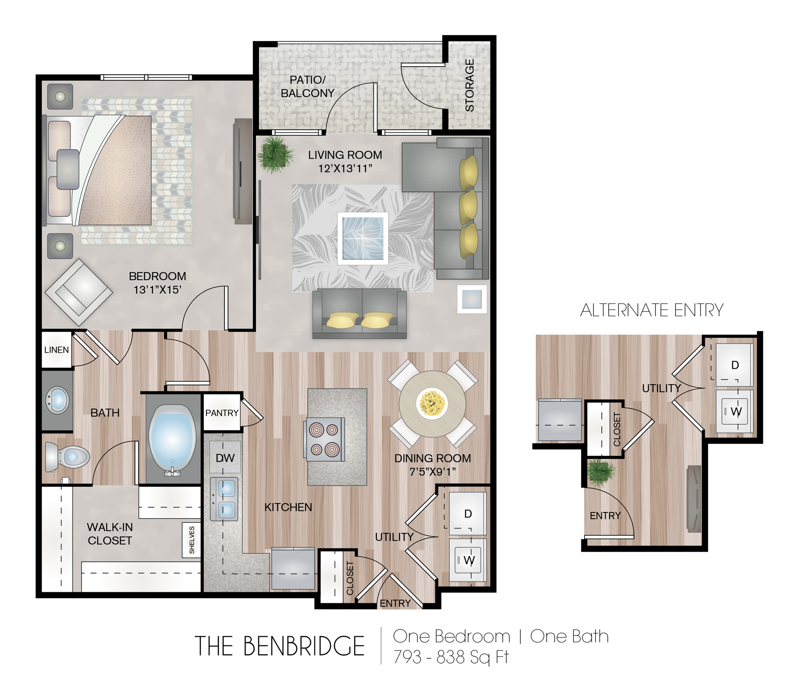 793 - 838 Square Feet (depending on entryway)