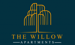 the willow logo - an orange line drawing of a willow tree on a deep blue background