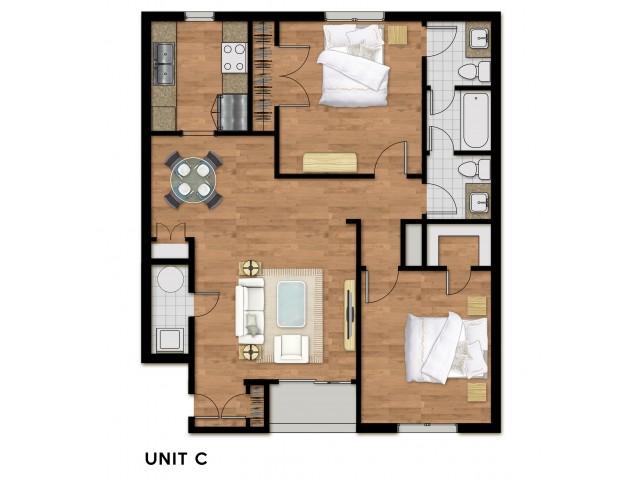 2 Bed 1.5 Bath Plan C