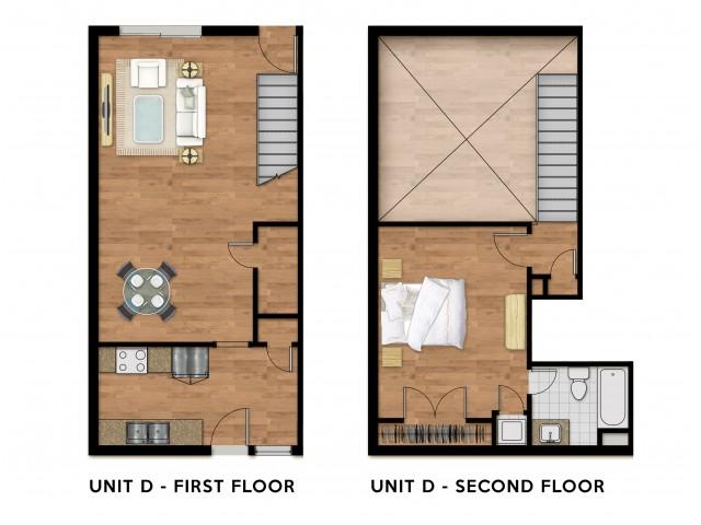 1 Bed 1 Bath Loft Plan D