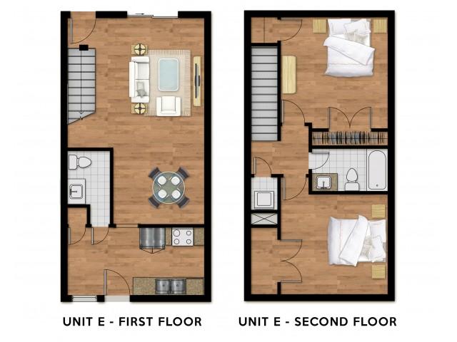 2 Bed 1.5 Bath Town-Home Plan E
