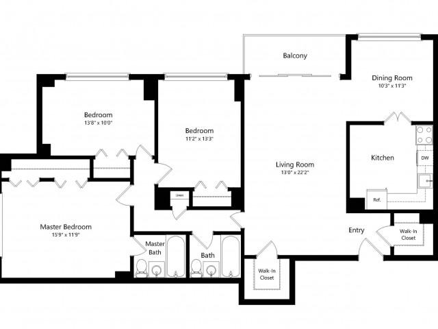 The Lincoln 2-Bedroom Floorplan