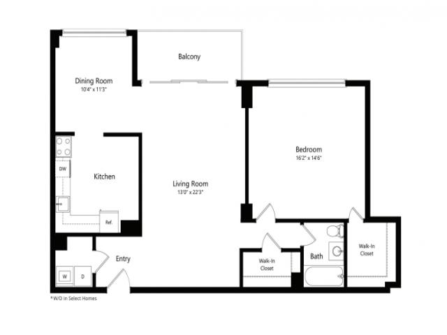 The Eisenhower 1-Bedroom Floorplan
