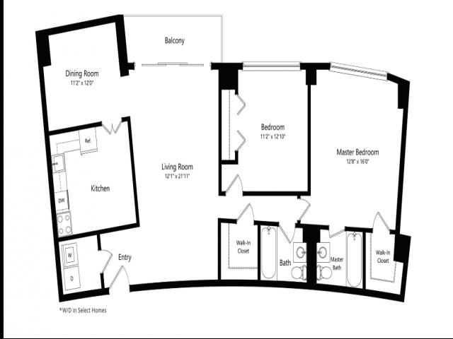 The Jefferson 2-Bedroom Floorplan