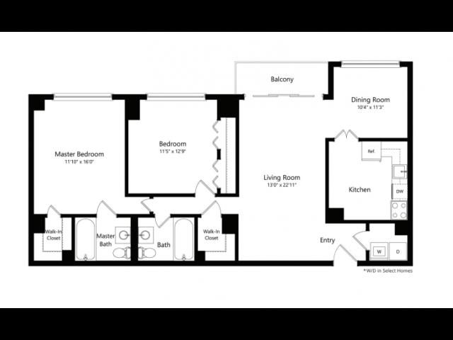 The Kennedy 2-Bedroom Floorplan
