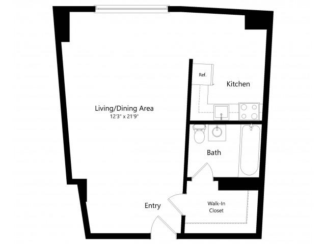 The Monroe Studio Floorplan