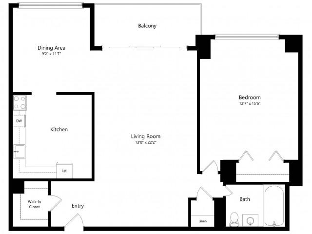 The Roosevelt 1-Bedroom Floorplan