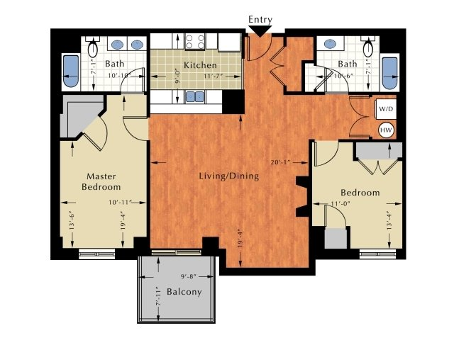 2 Bedroom Floor Plan | Lowell Ma Apartment | Grandview Apartments