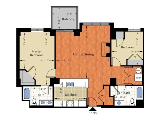 Floor Plan 8 | Lowell Ma Apartment | Grandview Apartments
