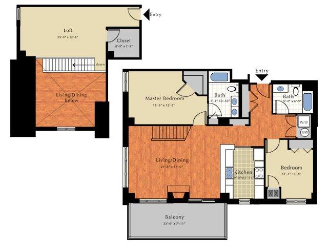 Floor Plan 7   2 Bedroom Apts In Lowell Ma   Grandview Apartments