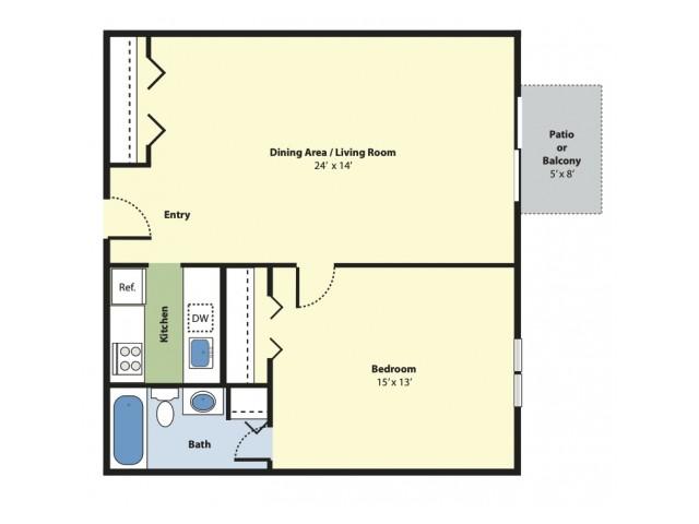 1 Bedroom Floor Plan | Apartments For Rent Marlborough MA | Princeton Green