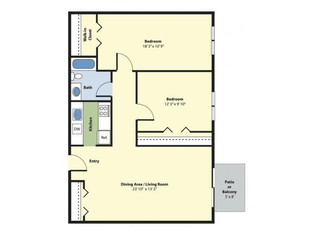 2 Bdrm Floor Plan | Pet Friendly Apartments For Rent In Marlborough MA | Princeton Green