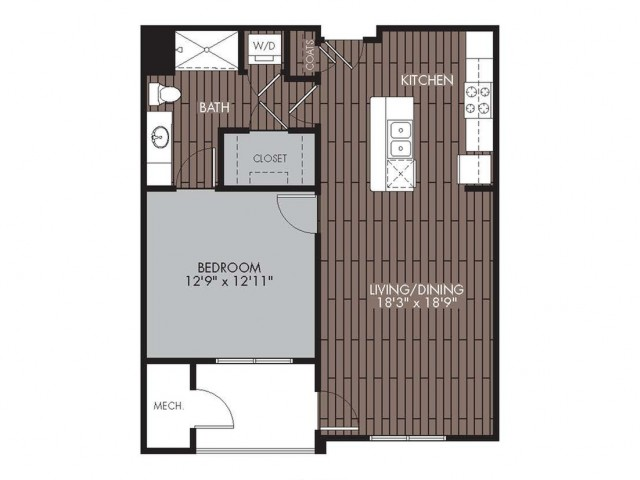 1 Bdrm Floor Plan | 2 Bedroom Apartments Lowell MA | Mill and 3 Apartments