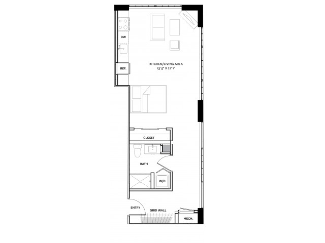 Floor Plan 1 | Apartment Complexes In Charlestown Ma | The Graphic Lofts