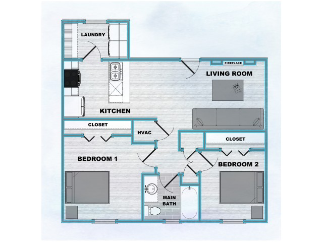 Trails End 2 Bed 1 Bath Floor Plan