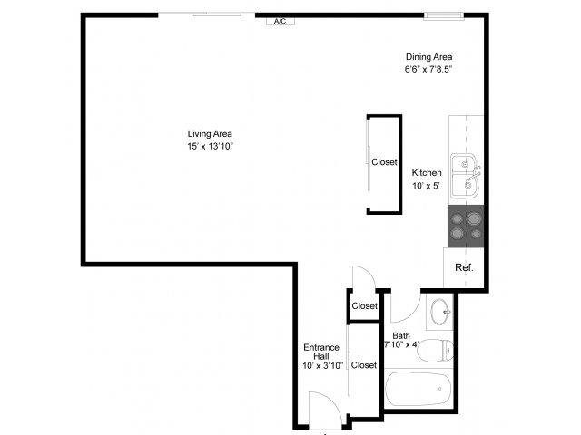 1 Bedroom Floor Plan | Apartments Eagan MN | Lexington Hills
