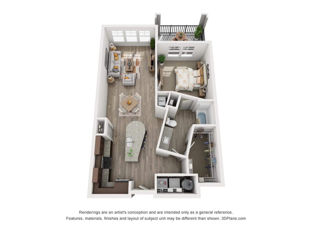 A2 - 1 bedroom, 1 bathroom apartment at Champions Vue Apartments