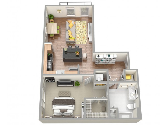 3D Floor Plan 1 | Clearwater Apartments | The Nolen