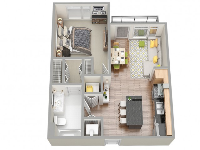 3D Floor Plan 3 | Apartments In Clearwater | The Nolen