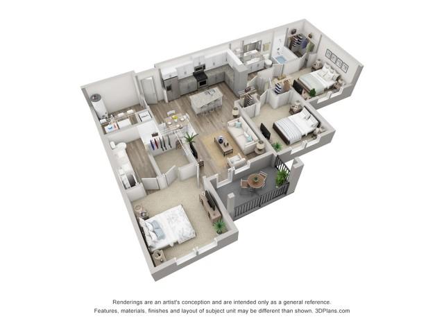 Murano | 3 Bedroom Floor Plan | Venice Isles Apartments | Venice Florida Apartments