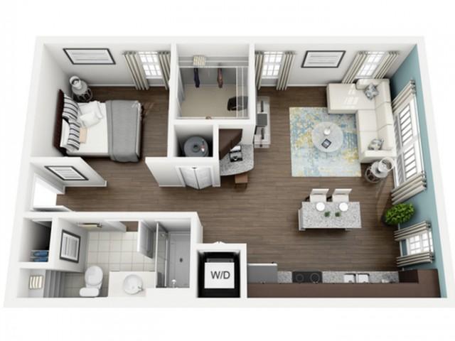 Aspire Floor Plan | Studio with 1 Bath | 619 Square Feet | The Marq Highland Park | Apartment Homes