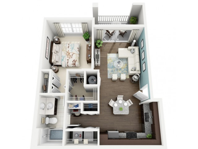 Allegre Floor Plan | 1 Bedroom with 1 Bath | 727 Square Feet | The Marq Highland Park | Apartment Homes