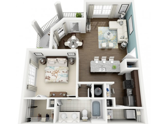 Aura Floor Plan | 1 Bedroom with 1 Bath | 860 Square Feet | The Marq Highland Park | Apartment Homes
