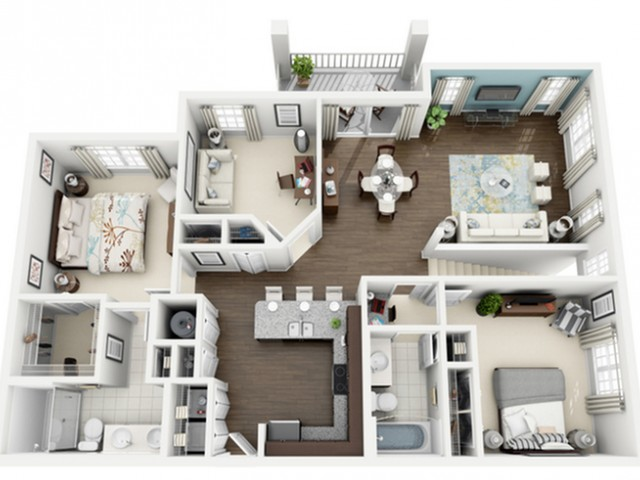 Rhapsody Floor Plan | 3 Bedroom with 2 Bath | 1358 Square Feet | The Marq Highland Park | Apartment Homes