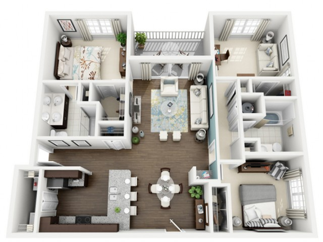 Radiant Floor Plan | 3 Bedroom with 2 Bath | 1306 Square Feet | The Marq Highland Park | Apartment Homes