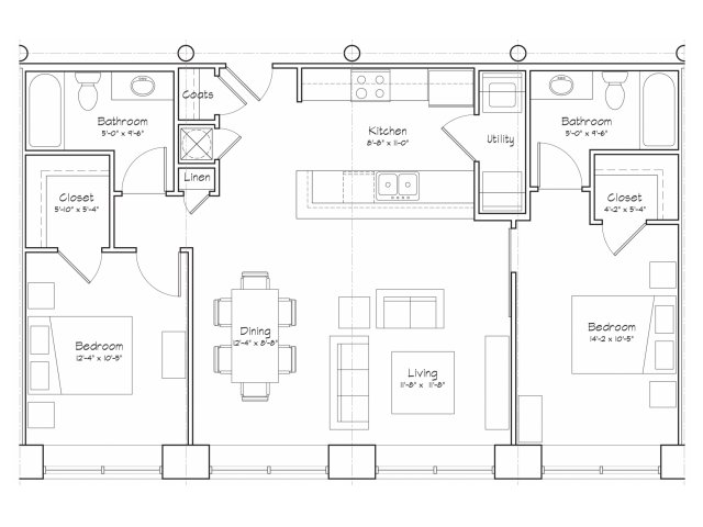 2X2-B3 Floor Plan | 2 Bedroom with 2 Bath | 1010 Square Feet | Alpha Mill | Apartment Homes