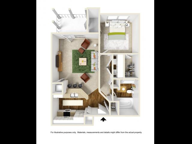 Iris Floor Plan | 1 Bedroom with 1 Bath | 676 Square Feet | Summer Park | Apartment Homes