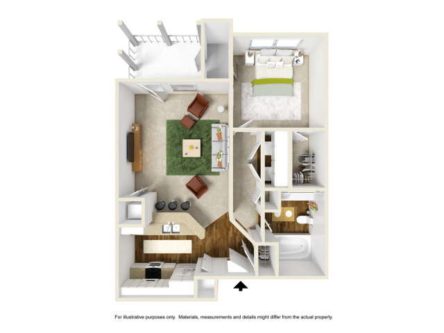 Iris with Sunroom Floor Plan | 1 Bedroom with 1 Bath | 697 Square Feet | Summer Park | Apartment Homes