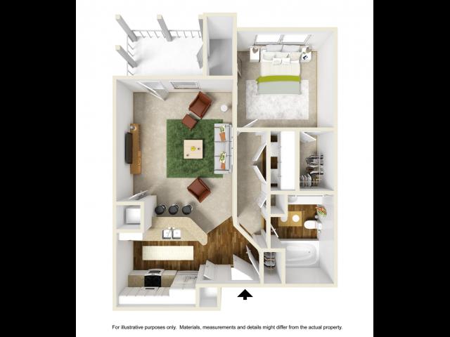 Iris Renovated Floor Plan | 1 Bedroom with 1 Bath | 676 Square Feet | Summer Park | Apartment Homes