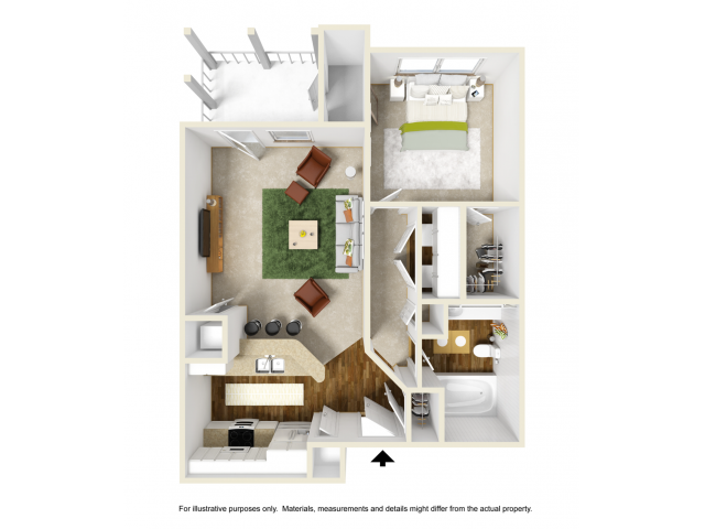 Iris with Sunroom Renovated Floor Plan | 1 Bedroom with 1 Bath | 697 Square Feet | Summer Park | Apartment Homes
