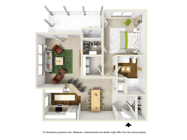 Lily Renovated Floor Plan | 1 Bedroom with 1 Bath | 792 Square Feet | Summer Park | Apartment Homes