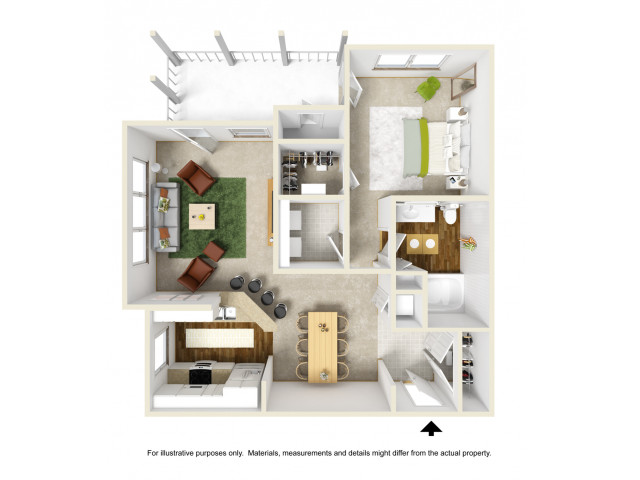 Lily with Sunroom Renovated Floor Plan | 1 Bedroom with 1 Bath | 877 Square Feet | Summer Park | Apartment Homes