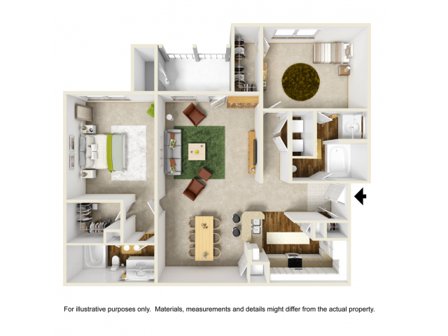 Orchid Floor Plan | 2 Bedroom with 2 Bath | 1216 Square Feet | Summer Park | Apartment Homes